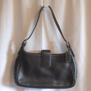 Coach Black Leather Hobo Silver Tone Hand Bag Pur